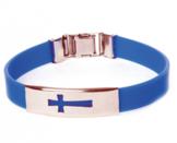 Armband silikon kors blå