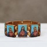 Armband i trä - Motiv: Jesus/Maria M - L