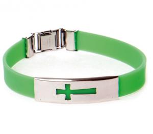 Armband silikon kors grön