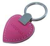 Nyckelring i läder, rosa