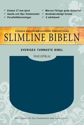 Slimline Bibel - blå cabra - utan Apokryferna